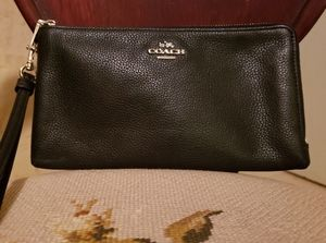Coach Pebbled Leather Double Zip Wallet Wristlet i